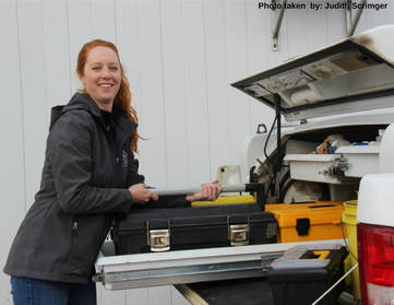 Sarah with equipment