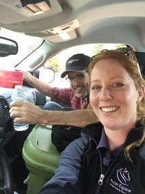 Paul and Sarah in a car